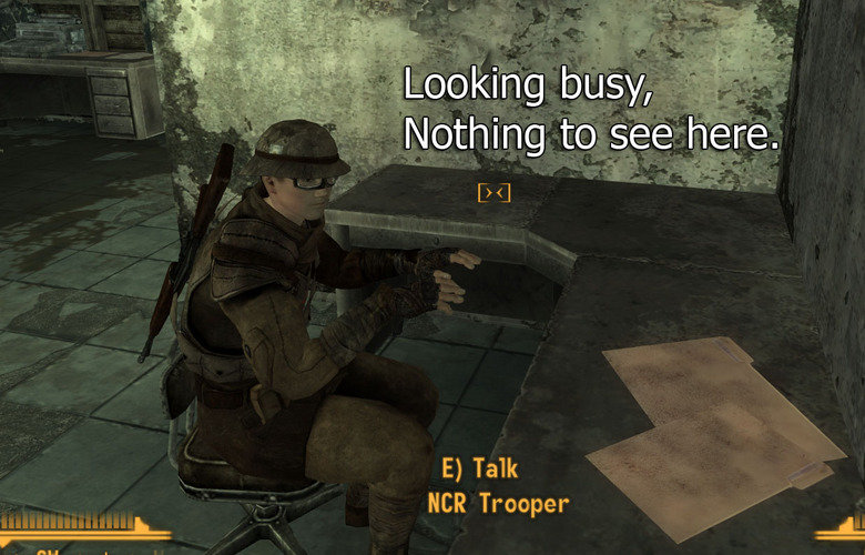 The NCR Work Ethic At Its Finest.. I'm just typing on my invisible keyboard.. E) Talk NCR Trooper. Damnit steam won't let me play New vegas, Every time i start it goes onto the launcher and says 'installer could not be found'. Y STEAM SO STUPID