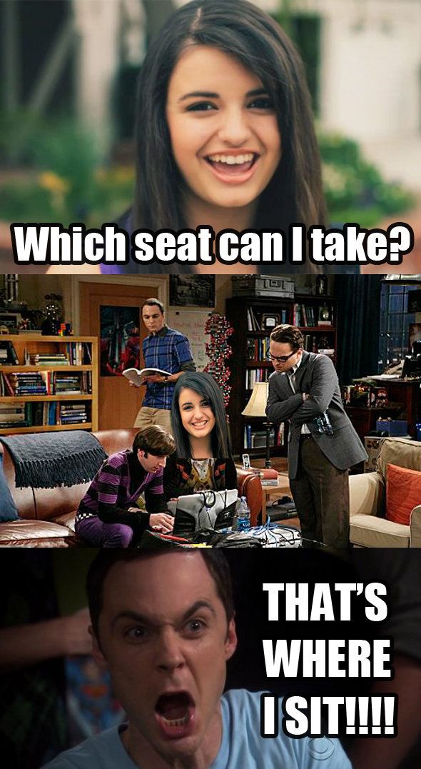 The Big Bang Theory. Thats where Sheldon sits!.. Rebecca....Black?!?!?!?