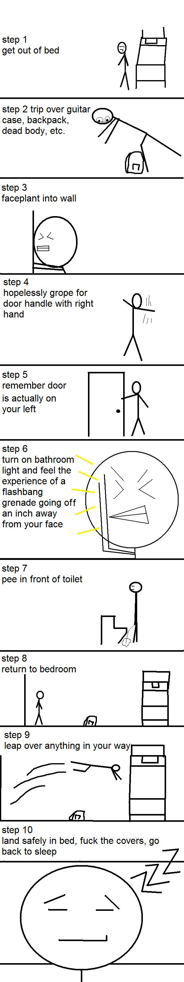 the bathroom at 3:00am guide. its a brutal process. step 1 get out of bed step 2 trip over guitar case, backpack, dead body, etc. step 3 faceplant into wall ste