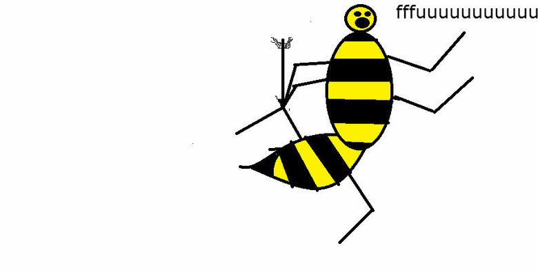 the bee's knees. the bee took an arrow to the knee drawn by myself on paint. Ctid', t