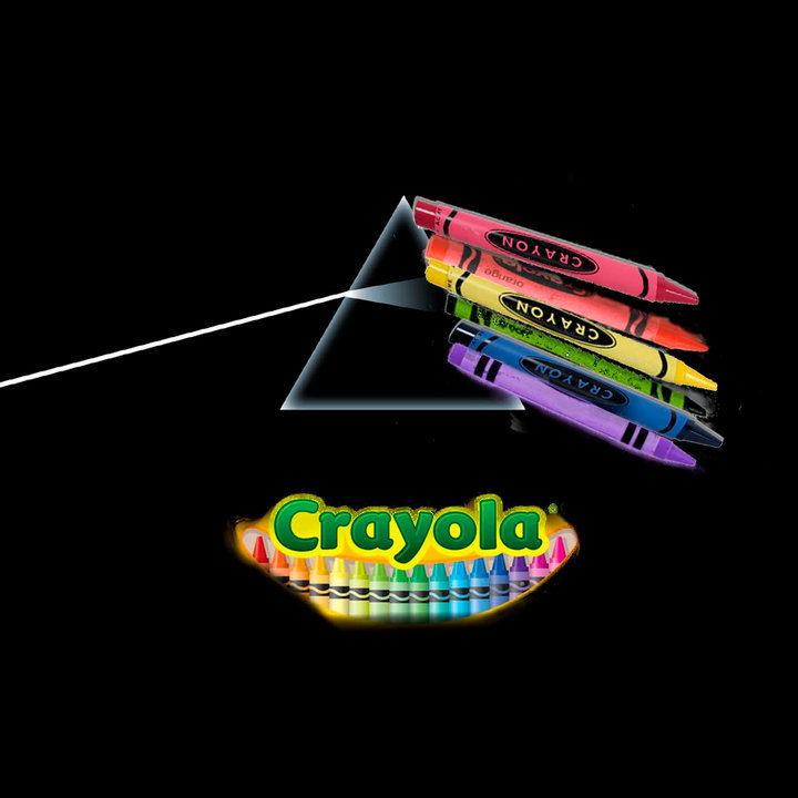 The Dark Side of the Crayon : Pink Floyd. i lold.. anyone else have a nicely placed Liquid Blue ad on this picture?
