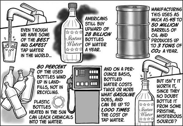 The truth behind bottled water!. Think...... They are have teh smartz :L Pic semi-related
