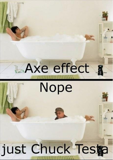 The axe effect. not mine. but I found funny... It turns your feet backwards?!