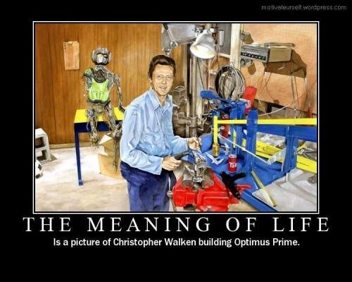 The true meaning. you know its true. is picture of Christopher Walken building Optimus Prime.. they were built in his image angels :captcha sleet