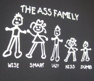 The Ass Family.. My friend found this shirt, so I cropped her pic. haha.. They forgot Fat Ass