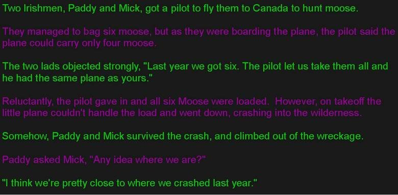 The Irish and the Moose. Got this from an email, and no, i dont have anything against the Irish. Two Irishmen, Paddy and Mick, got a pilot to fly them to Canada
