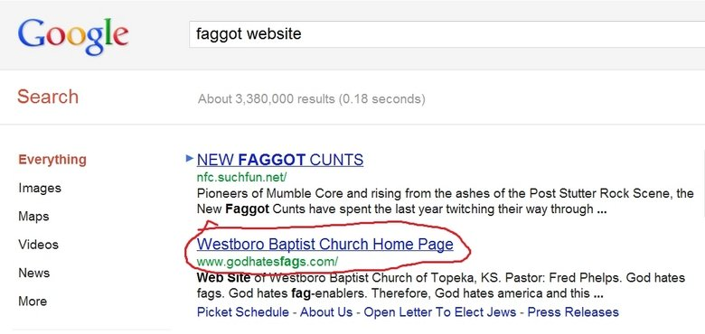 the irony. try it for yourself. Google faggot website Search About 3, 380, 000 results (. 1 as seconds) Everything F NEW FAGGOT CUNTS nfc. . neta Images Pioneer