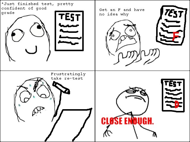 the test. this happened to me today. Just finished test, pretty confident of good Get an F and have no idea why take retoest