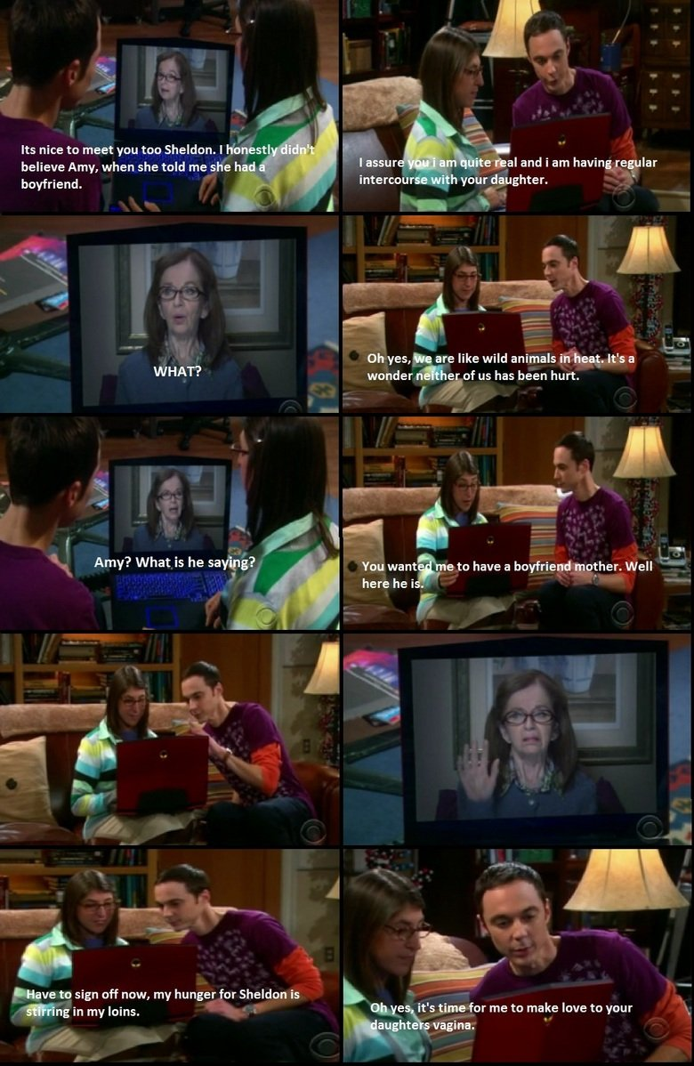 The Big bang Theory!. . believe Amy, when she told me she h boyfriend. in Ity if f Uh yes, mile like wild animals in treat, It' s a WHAT? wonder n l) Fof us has
