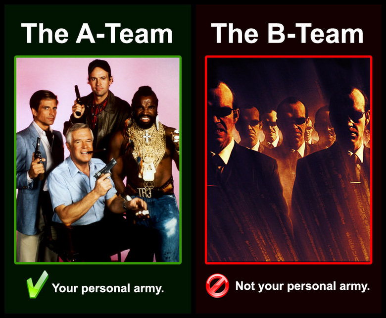 The B team. geddit?. The Asteam The tpi' Your personal army. 'I Not your personal army.. (The Real /B/-team)