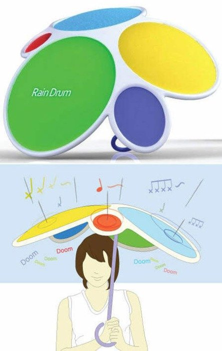 The Most Annoyingly Awesome Umbrella. I so want this brolly .. Perhaps it could play Ringo's epic drum fills in the song... wait for it... RAIN
