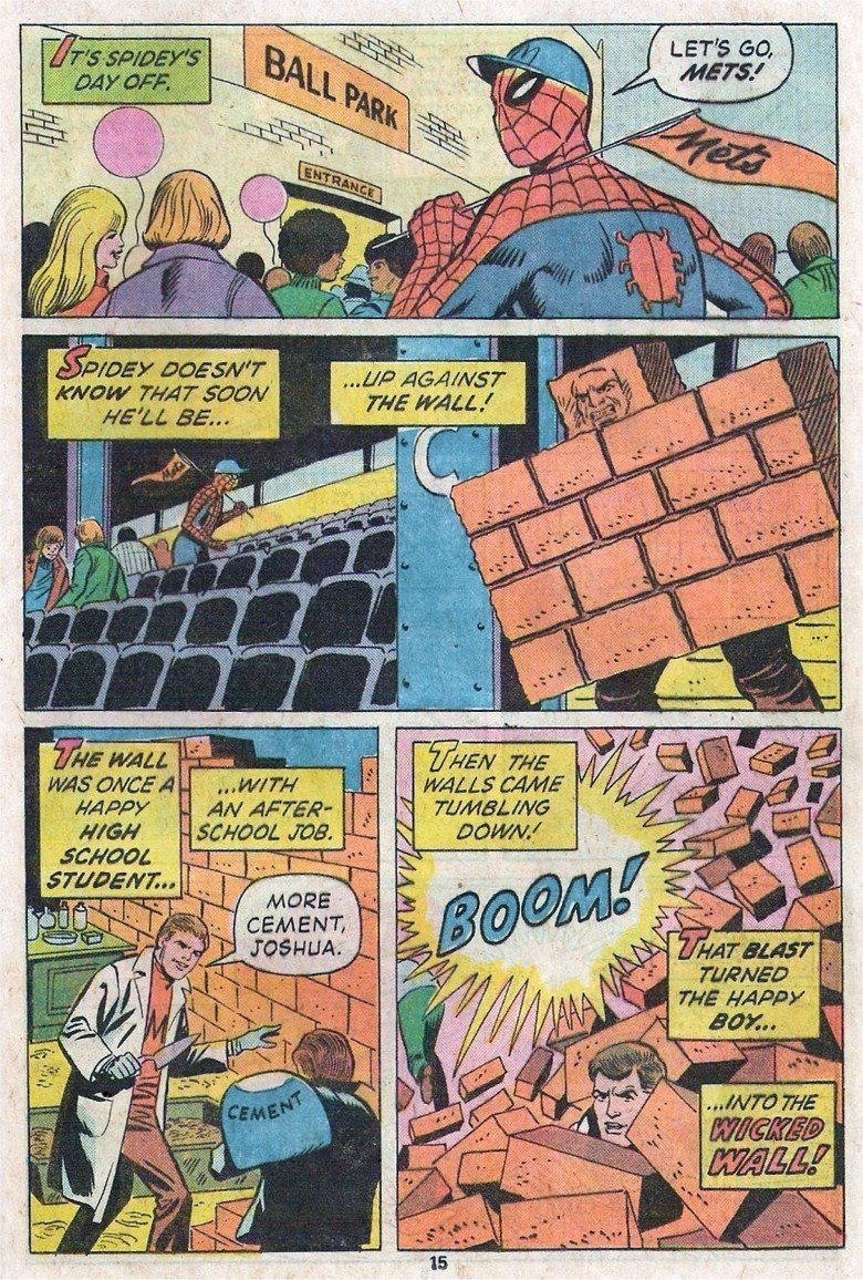 The birth of the wicked wall man. mother of god. THE mac. hit. why does he go to the Mets game dress at spidey?