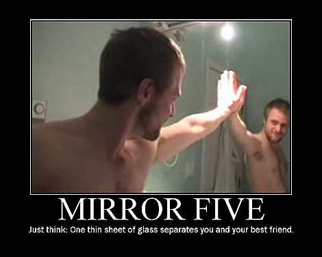 The most awesome kind of HighFive. ...if you have no friends.<br /> forever alone :'-). Just thanet: Cine thin sheet of glass separates you and your best