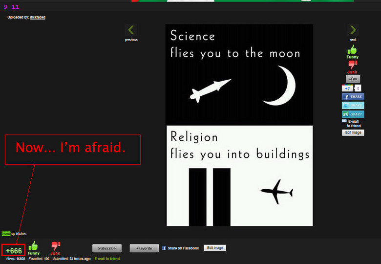 The beast!. . Funny cus Science Wes moon Religioun Flies yen inter buildings. ...yes Religion is the only thing that has fl;own planes into buildings...never happened before that, and never for any other reason...Never was cause by logic