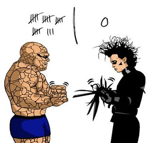 The Thing Vs. Edward Scissorhands. .. come at me, bro