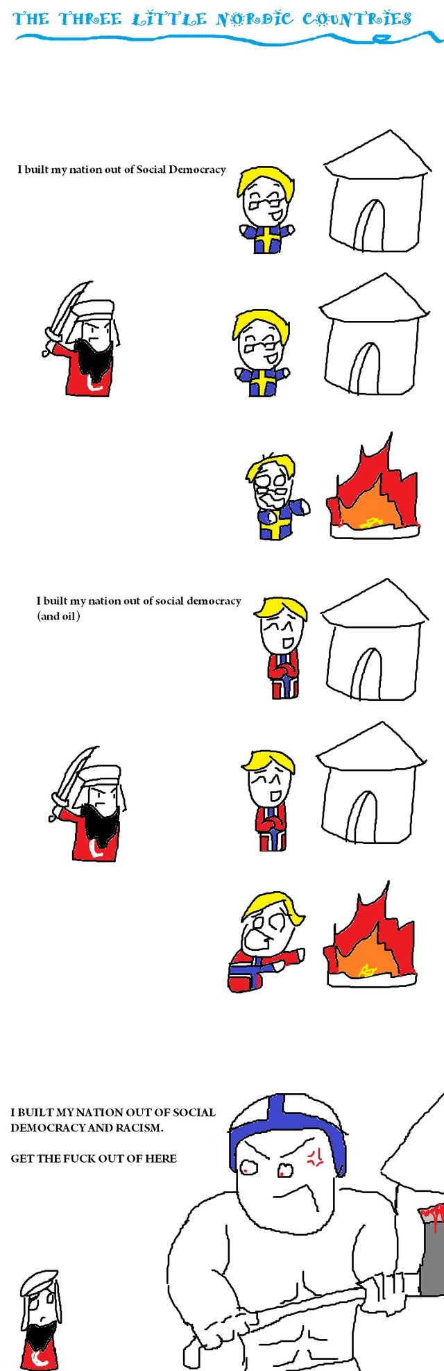 The Three little nordic countries. . I built my nation out official democracy and oil) I BUILT MY NATI ON OUT OF Sollux,,, DEMOCRACY AND RACI SM. GET THE FUCK O