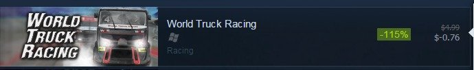 There are some great sales on steam. But this one might be overboard. jiggies'' -'' mattie ',1. World Truck Racing Ham. When you realize you can't actually buy it...