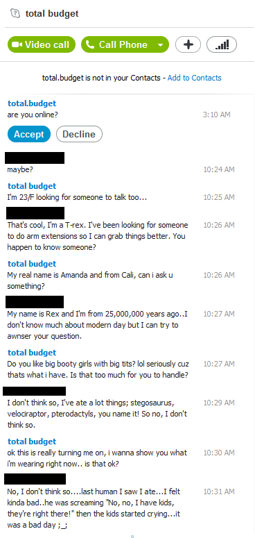 This Just Happened. . tii) total budget fft is not in your Contracts - Add m Contacts tetas. budget are you online? , 10 AM maybe? 10: AM total budget I' m EMF