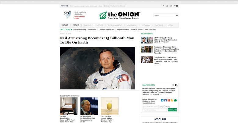 This just in.... Breaking news, Neil Armstrong is now the 115th billion person to have died on earth. Crazy .. nun: Earth reclaiming a be y .' Onion/ leather I