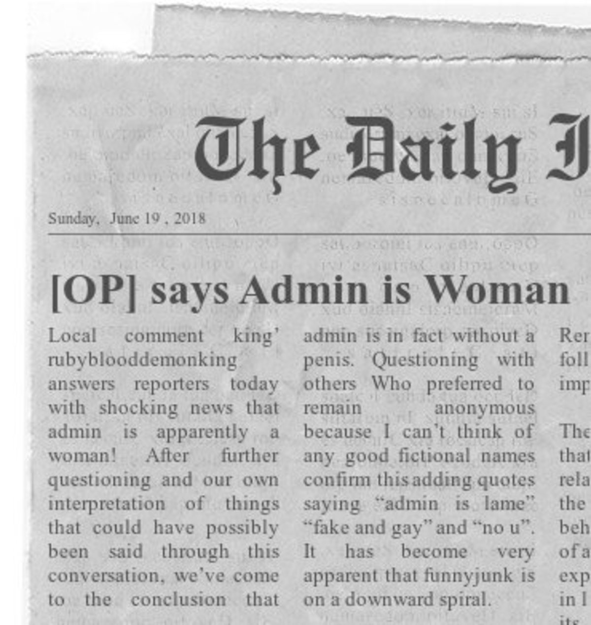 This just in!. Released in a press conference yesterday, admin responded out of context to make it look like she/he agrees. For Ruby's protection identities hav