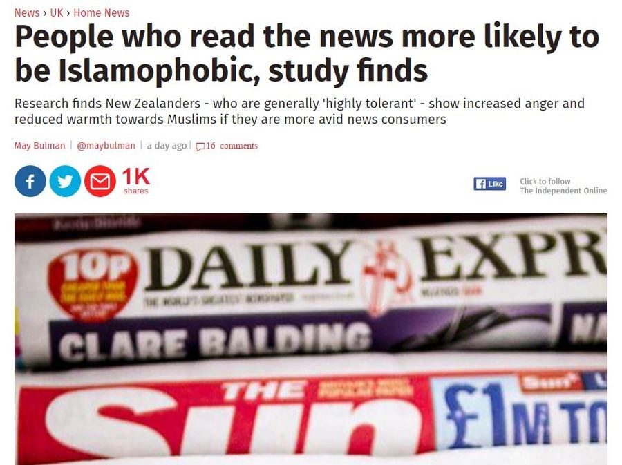 This Just In. Its real. . News I UK , Heme News People who read the news more likely to be Islamophobic, study finds Research finds New Zealanders - who are gen