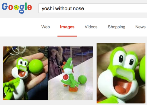 This just isn't right. . sale yoshi without nose Web Images Videos Shopping NEWS.. Reminds me of this: