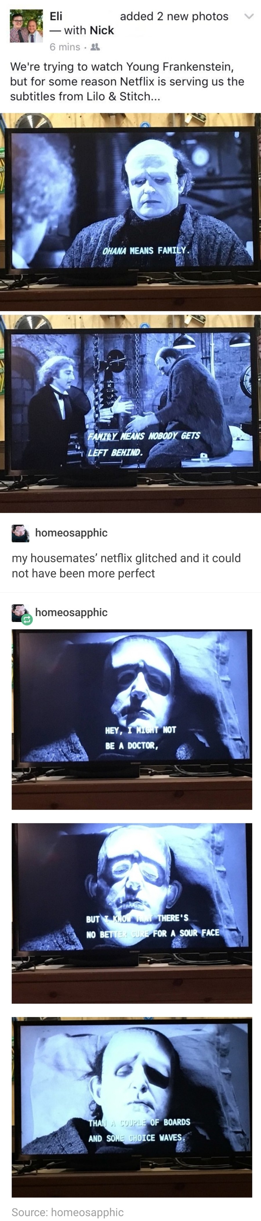 This just makes it better. . Eli added E new photos with Nick 6 ruins r w, We' re trying to watch Young Frankenstein, but for some reason Netflix is serving us