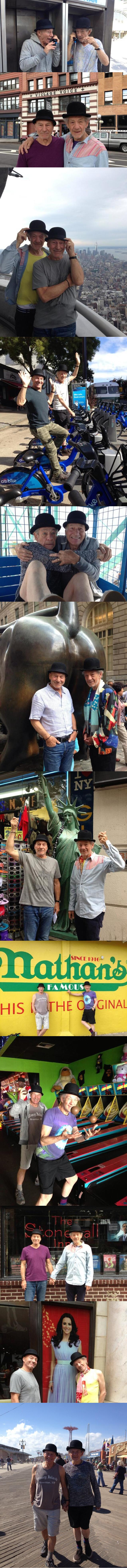 This Just Makes Me Happy. Apparently SIr Patrick Stewart and Sir Ian McKellen decided to have some shenanigans in NY on their last day in the city after their p
