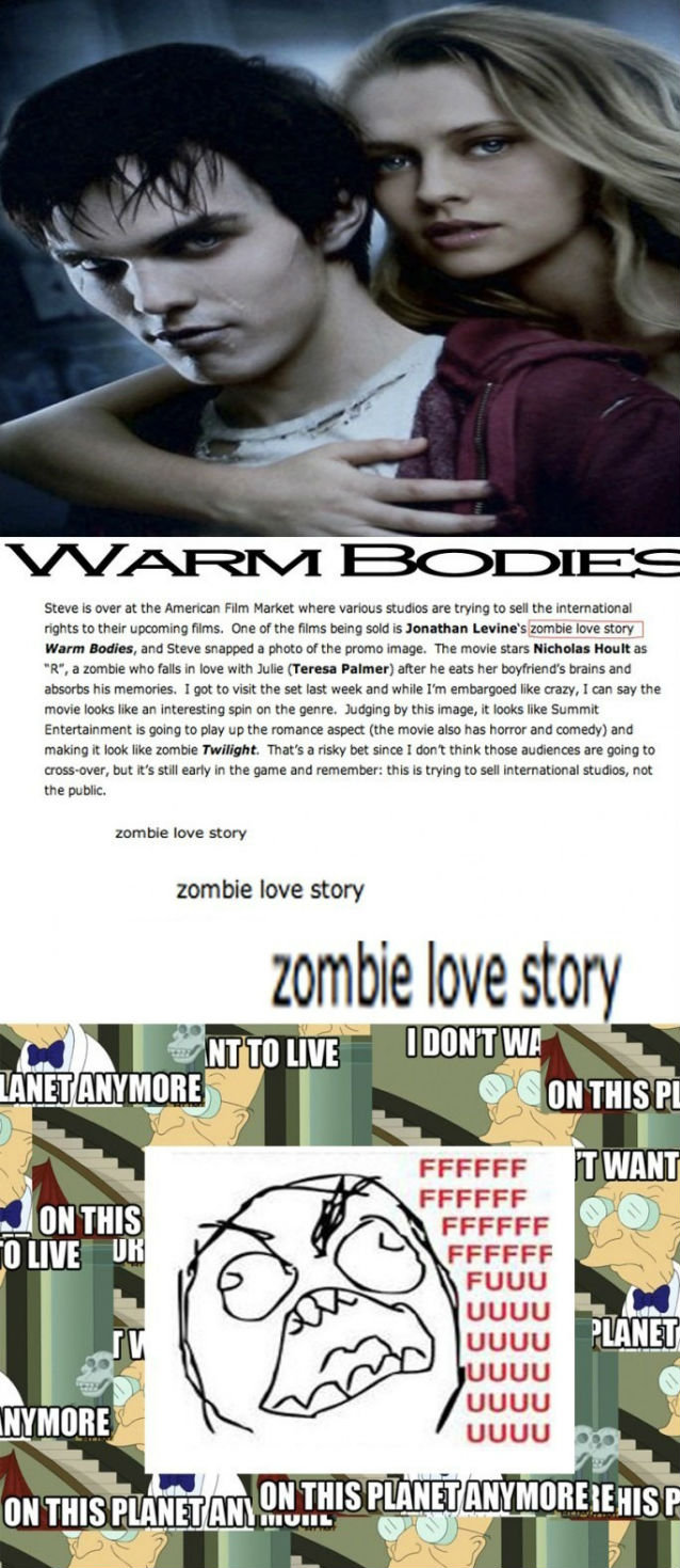 This Just Pisses Me Off. I honestly think we should protest or something! They RUINING monster/creepy things! First vampires, now zombies?! I hope this film bom