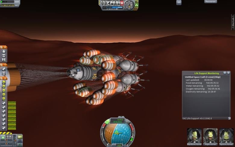 This Kills the Kerbals. 800 m/s. 1790 Miles Per hour. Mach 2.35.. Monitoring qt E Untitled Space Craft (3 crew)  Last updated: C) : 00: 00 Feed remaining:
