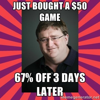 This kills the man. I waited about two months to see if Civ 5 would go on sale before I bought it. After it failed to do so, I decided to purchase the complete