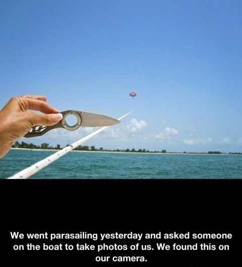 This kills the parasail. . We went yesterday and asked someone on the host to take photos of us. We found this on our earners.. I love this guy