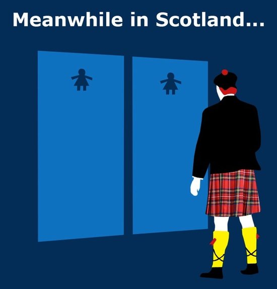 this kilts me. . Meanwhile in Scotland.... ive been in a couple of irish bars where theyve had the irish words on the toilet doors and the word for male starts with f and woman with an m if memory serves