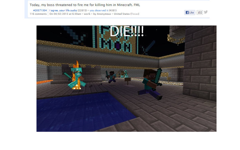 """this might be a real title, or is it?. haha. Today, nu."""" tunes threatened to fire me far killing him ' Minecraft. FINAL I agree. atlur We sucks } - ' it Egal"""