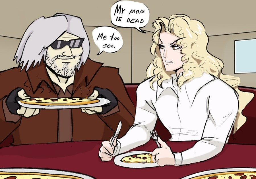 This Pizza Party's Getting Crazy. .. Dante uses his job as founder and sole worker of Devil May Cry as a coping mechanism and a way to perpetuate the cycle of vengeance/violence. He's just as edgy,
