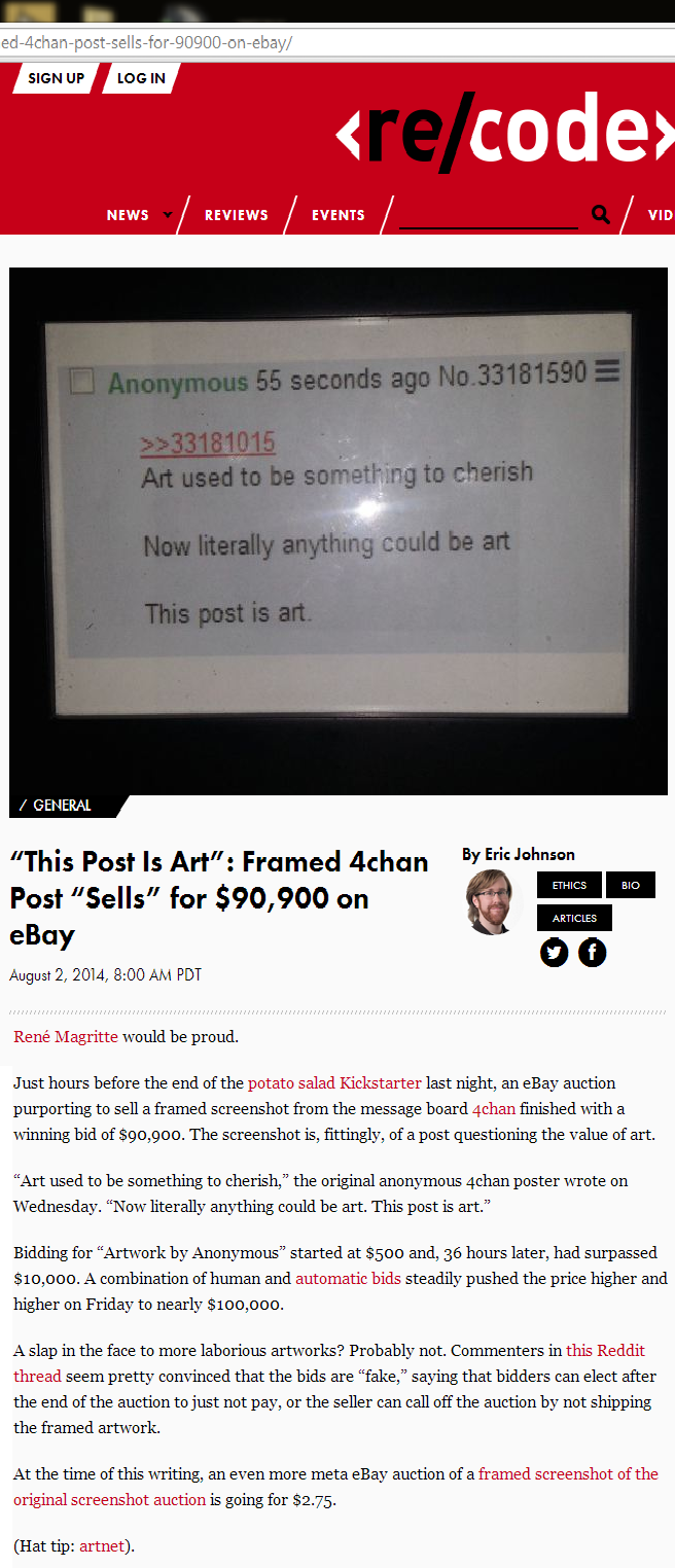 """This post is art. rape a pregnant bitch and tell my friends i had a threesome. REVIEWS EVENTS It M E ill E This Post Is Art"""": Framed khan : Post """"Sells"""" for , 9"""