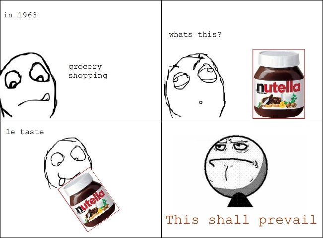 This shall prevail. EDIT: Yes, Nutella was invented in 1963 Dedz to Nunchuck for the rageface used in the last panel. in 1963 whats this? grocery C) )] I Shoppi