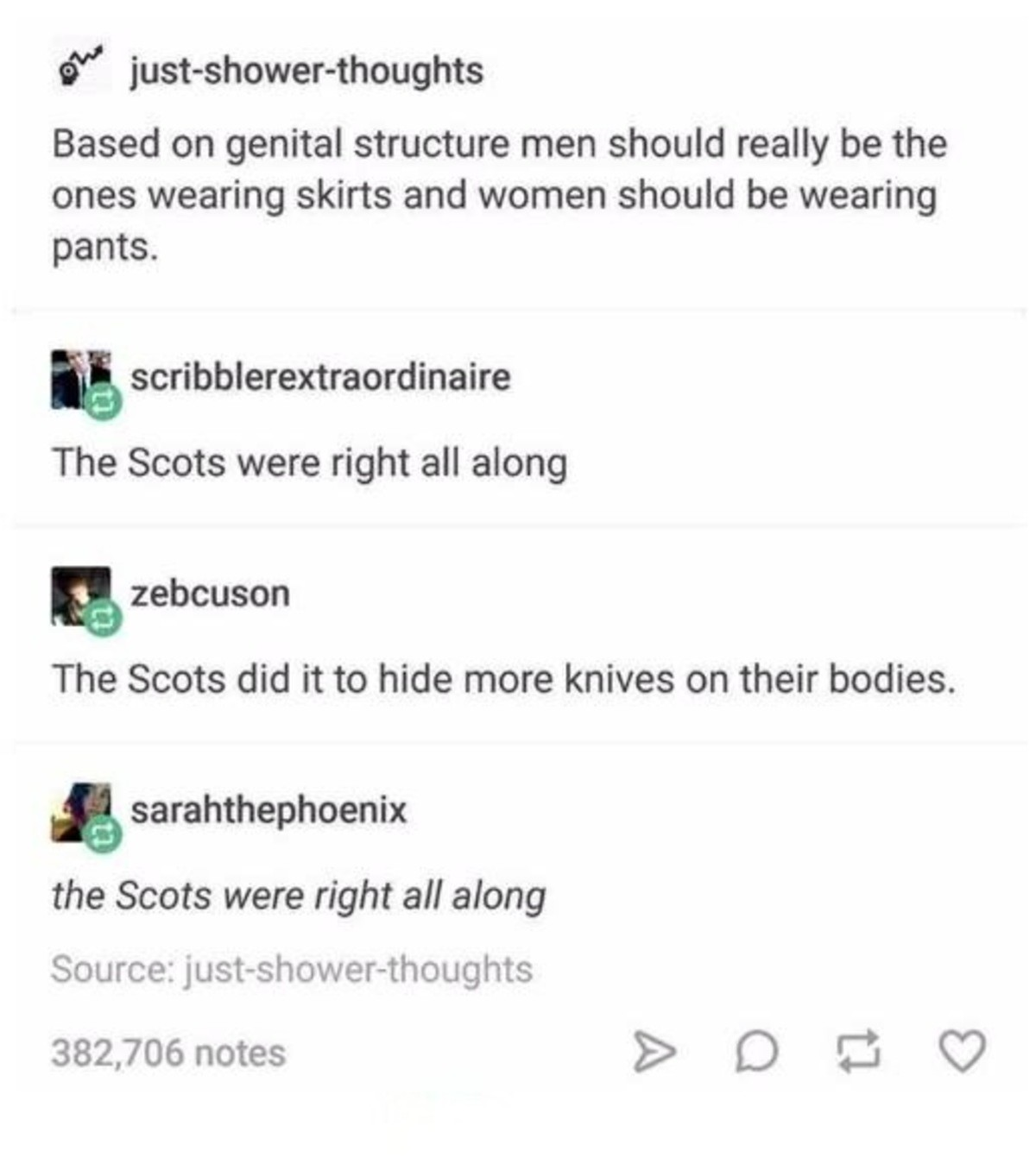 Those damn scots. .. I think pants would protect you more from those manual labor jobs.