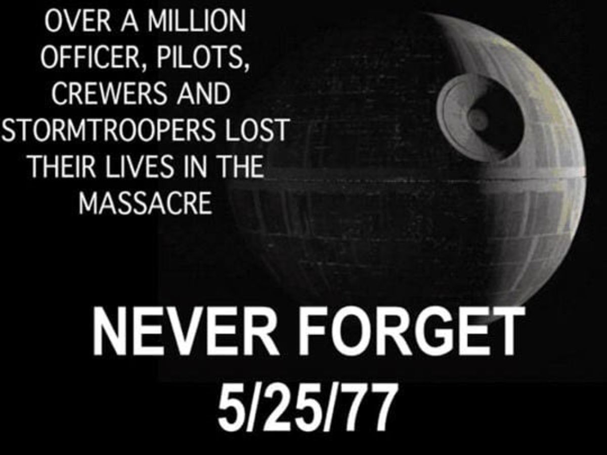 Those damn terrorists will pay one day. . OVER /llet MILLION OFFICER, PILOTS, BREWERS /) STORMTROOPERS LOST THEIR LIVES IN THE MASSACRE FORGET. Do you have any idea how long it took to get that thing built?!
