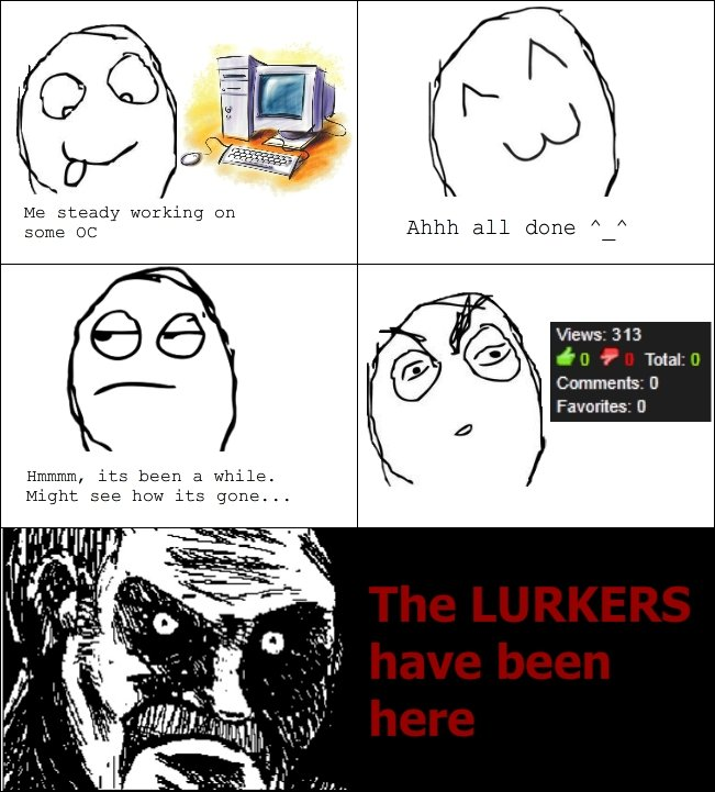 Those Damn Lurkers. Happens All The Time, I Bet The Lurkewrs Will Be Here Next... Ploise Thumb whatever you think. Me steady working on l El Hmhmm, its been a w