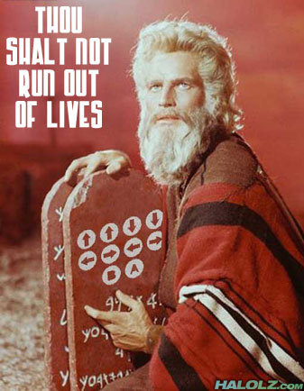 """Thou Shalt Not Run Out Of Lives. And the Lord sayeth """"Enter thy code so that thy conquests be epic and that thou shalt pwn many n00bs."""".. Hallelujah!"""
