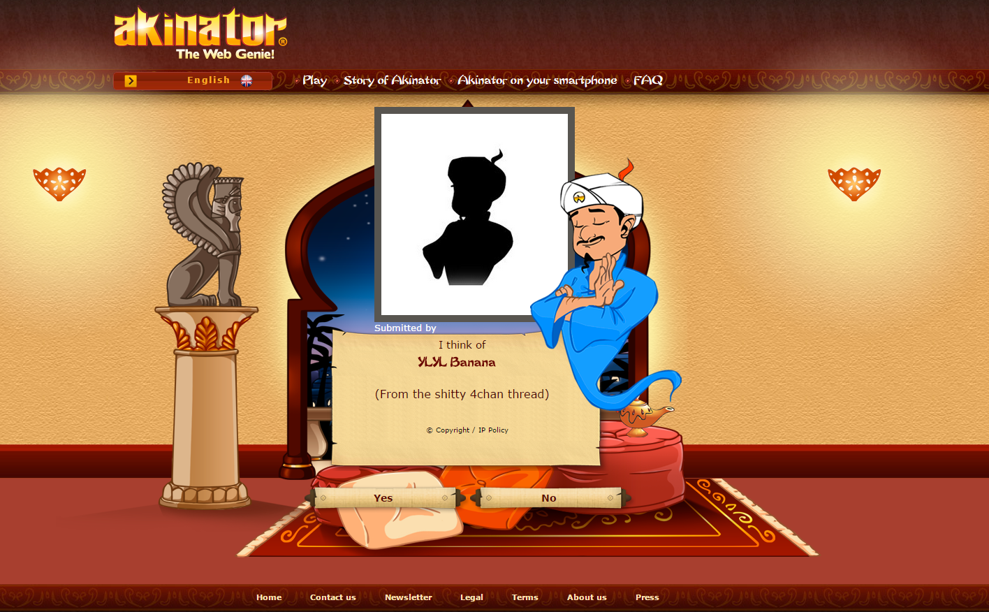 Thought akinator wouldn't know.... . The Web Genie! - E II El I i ' Us] Play Sting: If Fapinator tdlr. , an year Ermh' I think of KM., Banana From the shitty kh