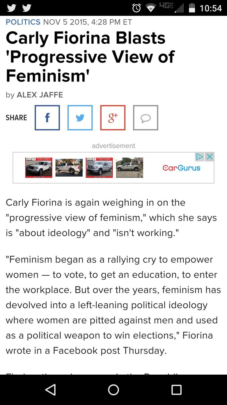 Thought You Guys Might Like This. Full Article . POLITICS NOV 5 2015, 4: 28 PM ET Carly Florina Blasts Progressive View of Feminism' by ALEX JAFFE SHARE I E E a