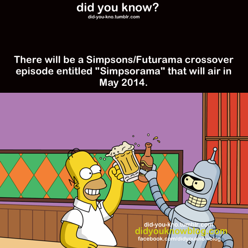 """Thought you guys should know about this. . did you know? nuckin. lum There will he a Simpsons/ Futurama crossover episode entitled """""""" that will air in May 2014."""