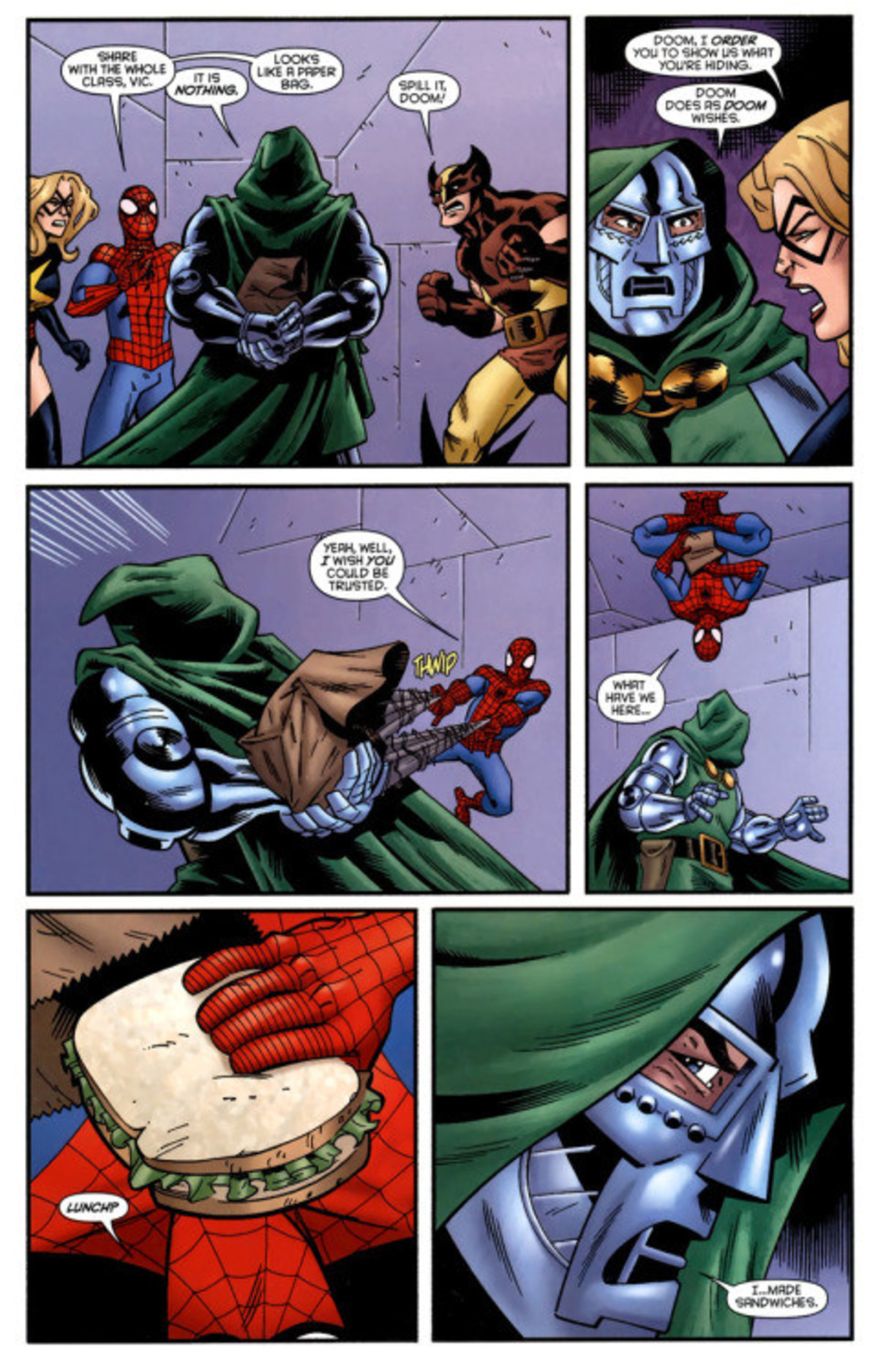 """Thoughtful Doom. .. Silly, """"heroes."""" If Doom did not want you to see the bag you would not have see it nor its contents!"""