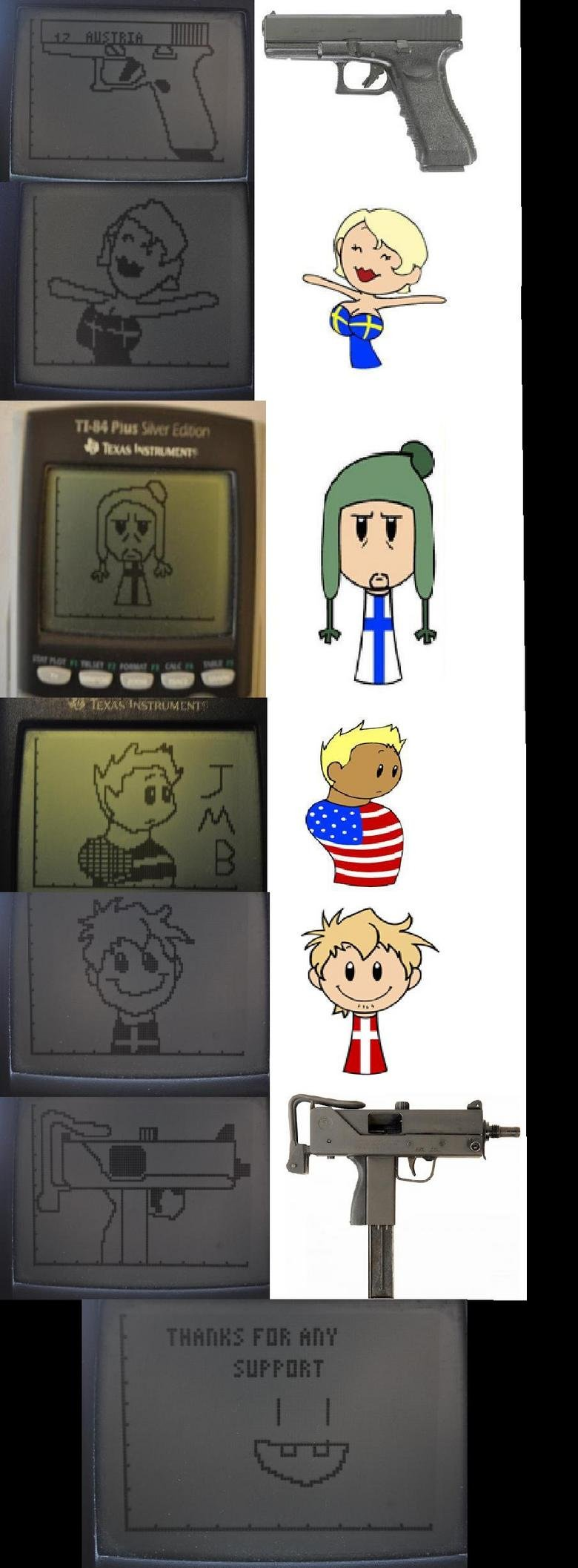 """Ti84 Drawings: 100 percent OC. Aside from the """"real"""" drawings/pictures, I made all of the calculator drawings myself. The cartoon characters are from"""