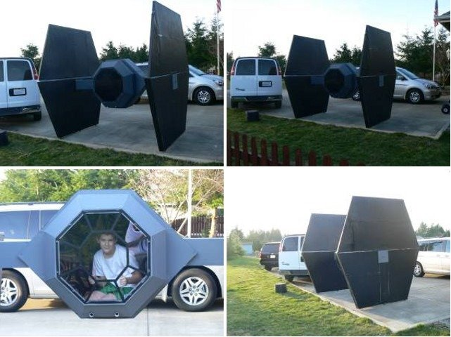 TIE Fighter. Cardboard replica of a TIE fighter as seen on craigslist..