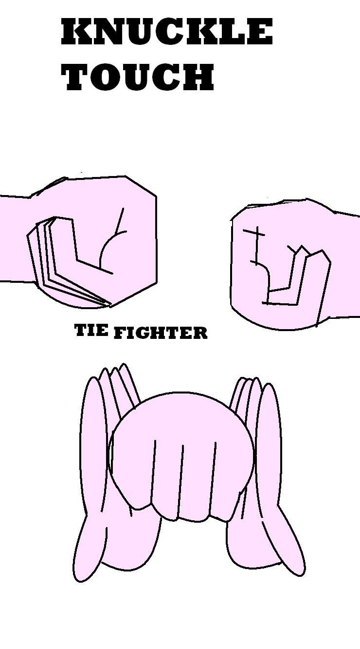 Tie Fighter. I learned to do this in camp when I was 9, I remember because my friend who taught me how brought it up a few days ago.. TOUCH TEE FIGHTER. It's a bro-fist or fist-bump. Not a knuckle touch!