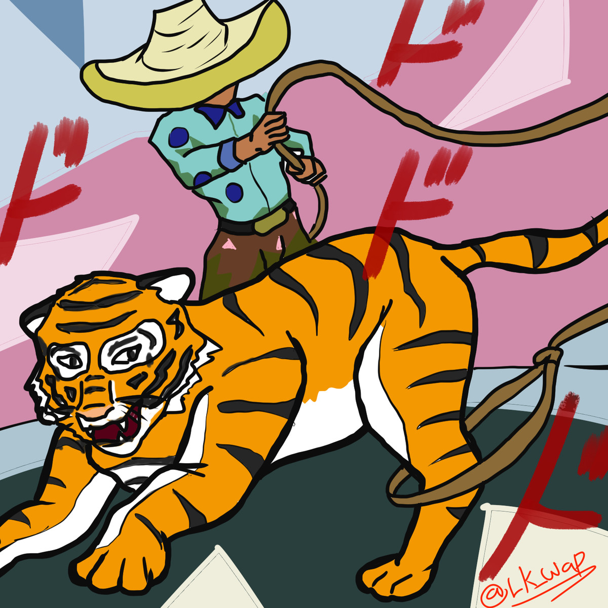 Tiger on the loose? My time to shine!. A tiger got loose somewhere in mexico, a charro (cowboy) lassoed it to capture it. And that's the most mexican thing I've
