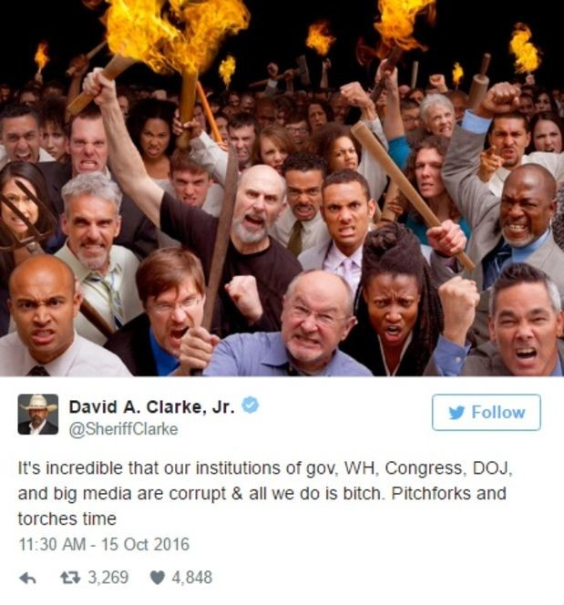 Tiliging Vigryifl Sudre. . David be Clarke. Jr. , g It' s incredible that our institutions as gear. 'NH. Disagress. DEM. and big media are St all we do is bitch